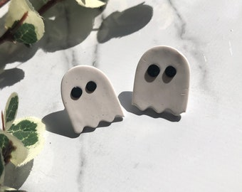 Boo Studs | Handcrafted Statement Earrings | Lightweight | Polymer Clay Jewelry | Hypoallergenic | Modern Chic | Halloween | Ghosts | Fall