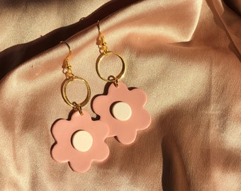 Daisy Dangles in Mauvey | Handcrafted Statement Earrings | Lightweight | Polymer Clay Jewelry | Hypoallergenic | Modern Chic | Fall