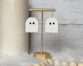 Boo Dangles | Handcrafted Statement Earrings | Lightweight | Polymer Clay Jewelry | Hypoallergenic | Modern Chic | Halloween | Ghosts | Fall