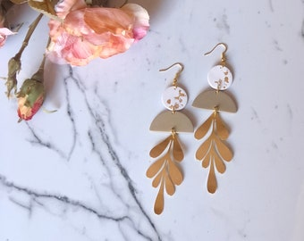 Audrey Leaf Dangles | Handcrafted Statement Earrings | Lightweight | Polymer Clay Jewelry | Hypoallergenic | Modern Chic |Fall