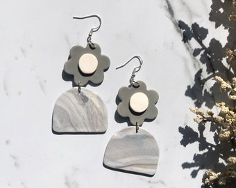 Floral Marble Dangles | Handcrafted Statement Earrings | Lightweight | Polymer Clay Jewelry | Hypoallergenic | Modern Chic | Fall