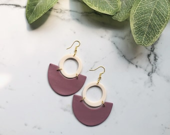 Farah Dangles in Party Plum | Handcrafted Statement Earrings | Lightweight | Polymer Clay Jewelry | Hypoallergenic | Boho Chic | Fall