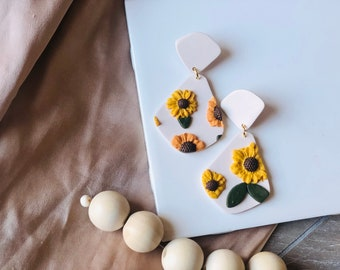 Sunflower Field Dangles | Handcrafted Statement Earrings | Lightweight | Polymer Clay Jewelry | Hypoallergenic | Boho Modern Chic