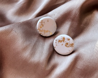 Gold Leaf Studs | Handcrafted Statement Earrings | Lightweight | Polymer Clay Jewelry | Hypoallergenic | Modern Chic | Fall