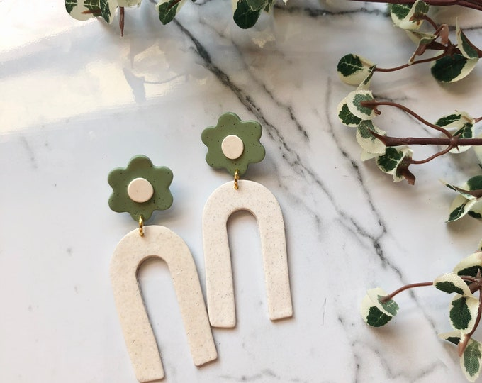 Featured listing image: Floral Archie Studs | Handcrafted Statement Earrings | Lightweight | Polymer Clay Jewelry | Hypoallergenic | Boho Chic | Dangles | Fall