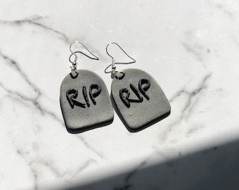 Tombstone Dangles | Handcrafted Statement Earrings | Lightweight | Polymer Clay Jewelry | Hypoallergenic | Modern Chic | Halloween | Fall