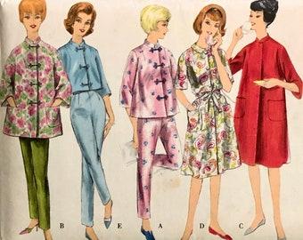 1960/'s Women/'s Vintage Lounge Jacket Op Art Shortie Cotton House Coat Lounge Wear