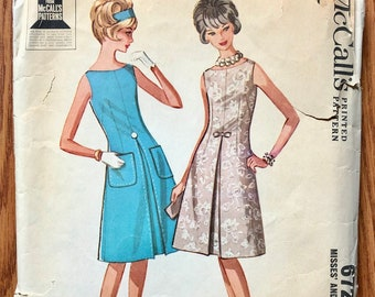 60s Dress Sewing Pattern / Vintage 1960s Women's Cocktail Dress / Size 14, Bust 34 / McCalls 6725 / Rare Find