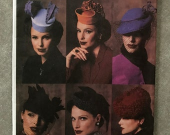 fe80ec6a5f4 Vogue 7657   Women s Vintage Hats Sewing Pattern   1940s Style Reproduction    Pillbox Hat   Birdcage Hat   Veiled   Millinery Patterns