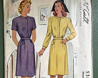 f60bc6da5a73 1940s Vintage Dress Sewing Pattern   40s Juniors   Women s Dress   McCall s  5381   Size 12