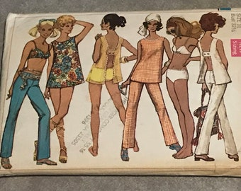 Bathing Suit & Cover-Up Sewing Pattern / Misses Summer Hip-Hugger Pants, Top and Bikini Swimsuit  / Size 10, Bust 32 1/2 / 8153