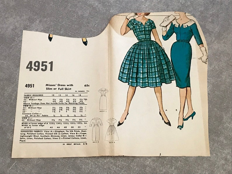 e5fee4c7e0a 50s Rockabilly Dress Sewing Pattern   Vintage 1950s Wiggle