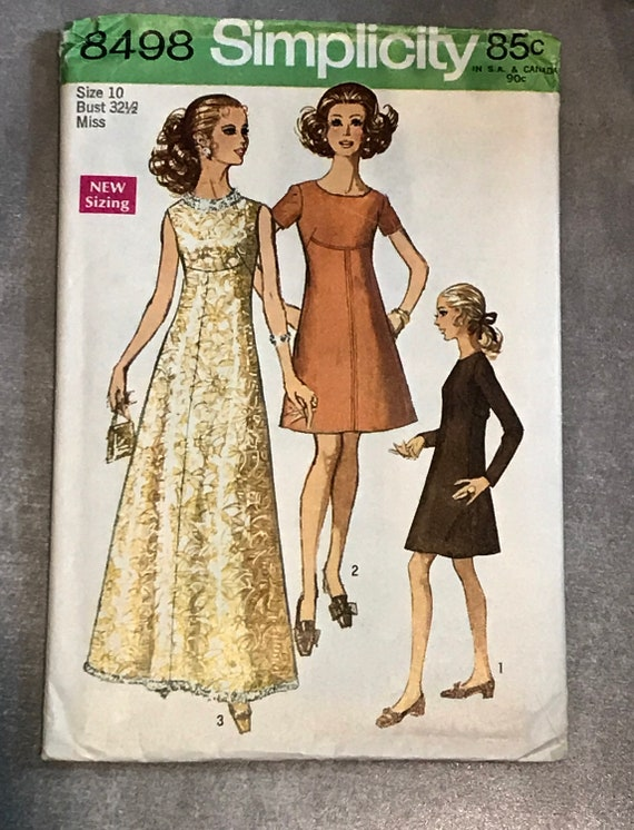 Evening Gown Sewing Pattern / Vintage 1960s Dress / 2 Sizes | Etsy