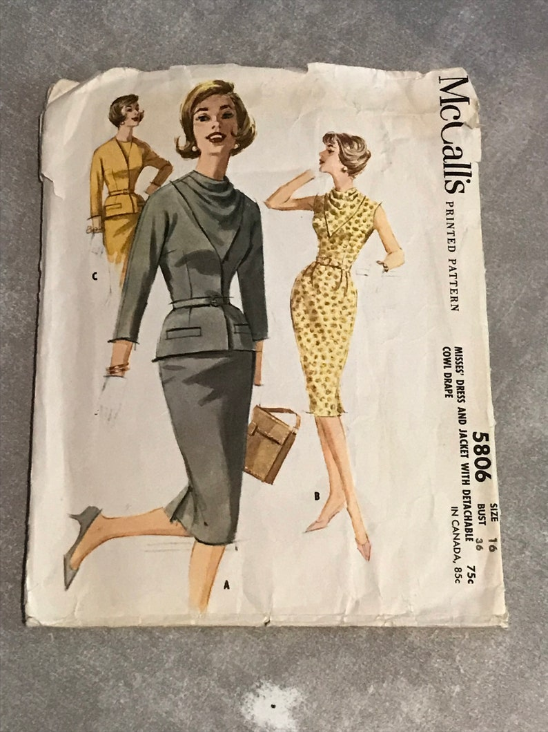 25b829d8611 1960s Vintage Sewing Pattern   60s Retro Dress Jacket and