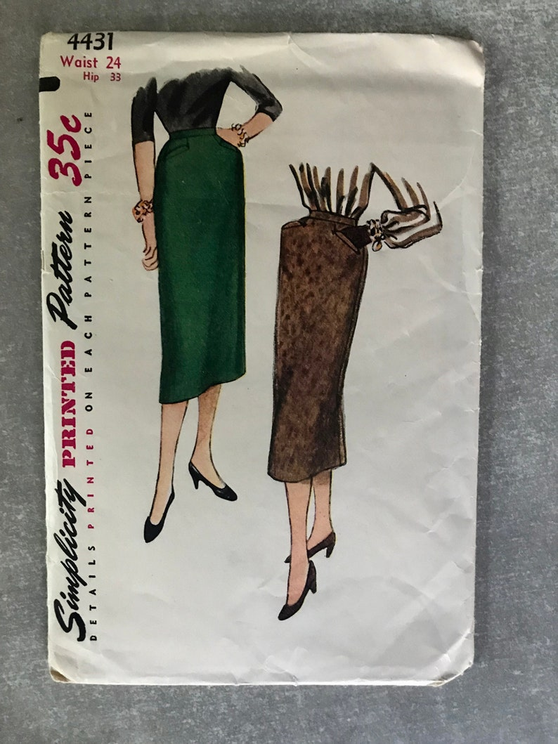 f15fce26a42e0 50s Pencil Skirt Sewing Pattern / Vintage 1950s Wiggle Skirt with Welt  Pockets / Women's Waist Size 24 / Simplicity 4431 / Rare