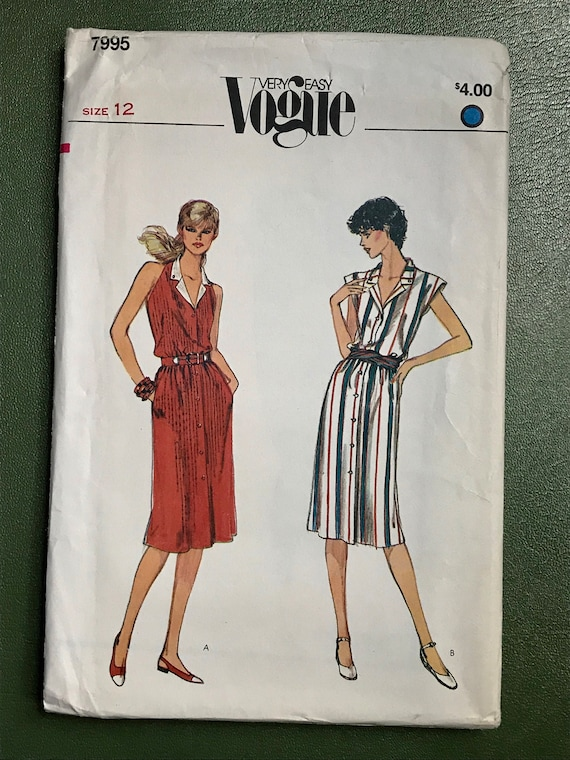 3399ac9d7b Vogue Dress Sewing Pattern / Vintage 1980s Women's Very | Etsy