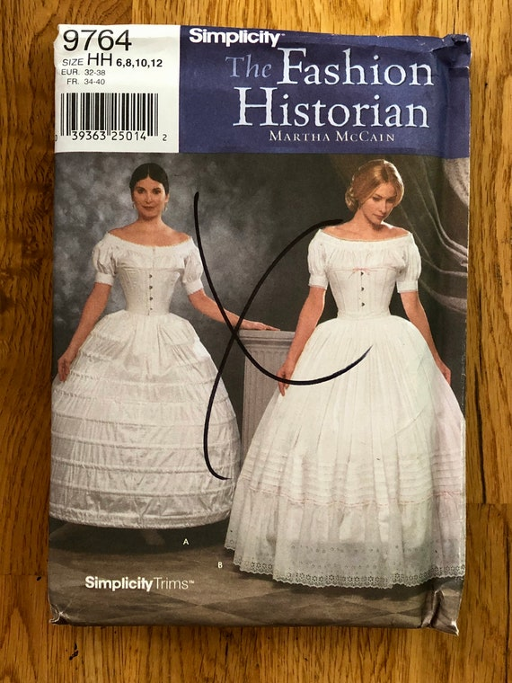 Martha McCain Womens 1860/'s Crinoline Hoopskirt /& Petticoat OOP Simplicity Sewing Pattern 9764 Size 6 8 10 12 Bust 30 12 to 34 FF
