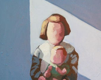 Original painting / acrylic on canvas / little girl with doll / figurative painting / retro