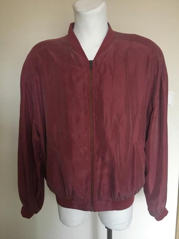 Vintage Men's Red Silk Bomber Jacket size L