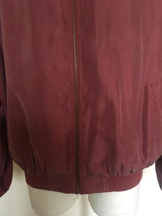 Vintage Men's Red Silk Bomber Jacket size L - image 6