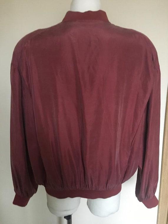 Vintage Men's Red Silk Bomber Jacket size L - image 2