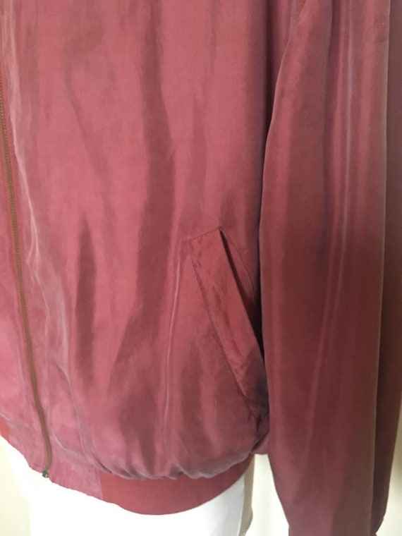 Vintage Men's Red Silk Bomber Jacket size L - image 8