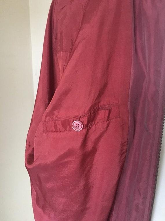 Vintage Men's Red Silk Bomber Jacket size L - image 7