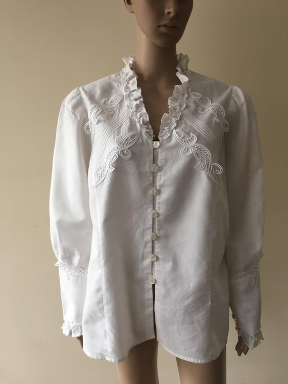 Vintage White Blouse with Frills Folklore Handmade
