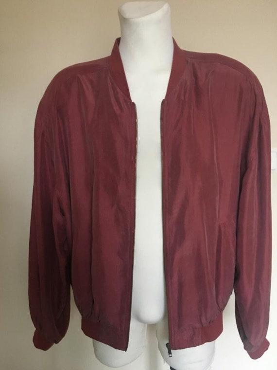 Vintage Men's Red Silk Bomber Jacket size L - image 5