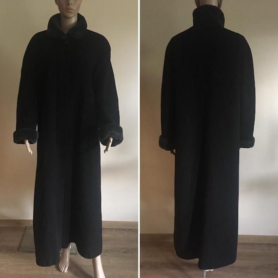 Vintage Black Wool Maxi Coat size M
