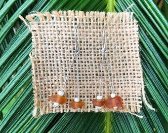 Brown Sea glass dangly earrings