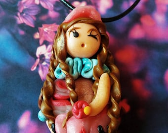 Doll pendant necklace Princess playmobil polymer clay
