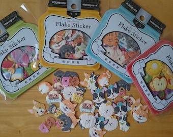 Japanese Washi flake stickers (Cat/Dog/Fruits/Tropical)