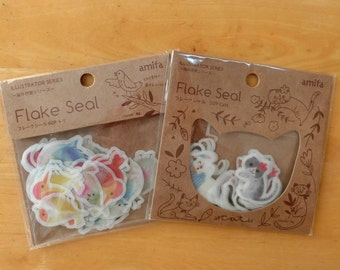 Animal flake stickers (Birds/ Cat)