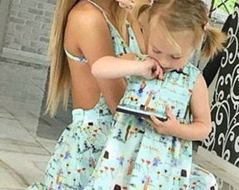 18c181e42b2 Long Turquoise Matching School Teacher Mothers Day Dress