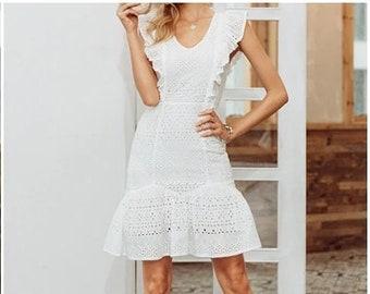 f731e30a907 Detailed Boho White Dress Ruffle V Neck Hollow Out Open Back Dress Bohemian  White Party Dress Beachwear See Through Mini Dress