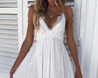 c4afded2cca Long White Summer Dress White Lace V Neck Racerback Floral Lace Bralette  Style Top Sheer White Party Dress Bridal Shower Beach Wedding Maxi