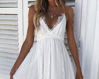 85417c1ab8 Long White Summer Dress White Lace V Neck Racerback Floral Lace Bralette  Style Top Sheer White Party Dress Bridal Shower Beach Wedding Maxi