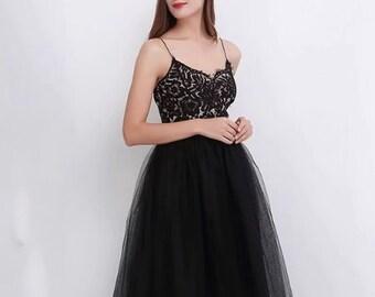 383ed067727 Elegant Victorian Black Tulle Skirt
