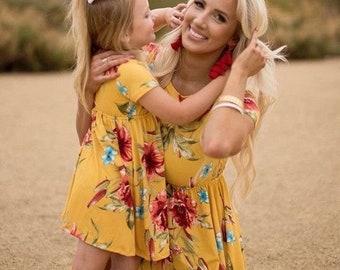 7602bd531d5 Matching Boho Dresses Custom Mom Gift Set
