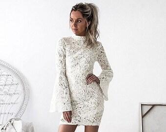 3bf89930ed1 White Lace Bridal Shower Dress Boho Wedding Dress Reception Dress White  Dress Long Sleeve Short Lace Wedding Dress Turtleneck Wedding Dress