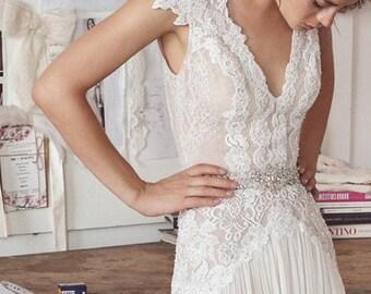 e5dbd92a486 Long Boho White Dress Loose Maxi Dress Summer Lace Sundress Bohemian  Vintage Style Deep V Neck Boho Wedding Dress Open Back Cap Sleeves