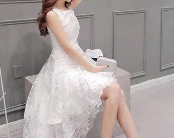 2b9e6a3c0dc Classic High Low Multilayer White Dress Lace Floral Wedding Dress White  Bridal Shower Dress for Bride Lace Wedding Dresses White Lace Dress