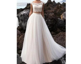cf30bbe1e51 Elegant White Lace Crop Top Wedding Dress Two Piece Sheer Bralette Boho Bridal  Separates Summer Wedding Dresses Full Skirt A-Line Dress