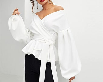3a188ae9b7d Creative Chic Off Shoulder White Blouse V Neck Tie Up Front Long Sleeve  White Dress Top Lantern Sleeve White Party Bridal Shower Dress Shirt