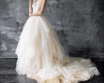 6b3984e0ba8 Multilayer Ivory Champagne Wedding Dress Skirt Full Long Train Bridal  Shower Dress Skirt Lace Tulle Skirt Beige White Reception Skirt Bride