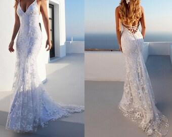 ac1ab8ad9f3 White Lace Wedding dress White dress Bridal shower dress for bride Wedding  dresses Wedding Reception dress white lace dress Quincenera dress