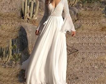 d8488c6d4d0 Summer White Long Bell Sleeve Dress See Through Lace White Boho Dresses for  Bridal Shower Wedding Bohoartist Chic V Neck Tassel Maxi Dress