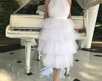 cff5b150515 ruffle multilayer tulle rcuhed skirt style white dress wedding dresses  halter