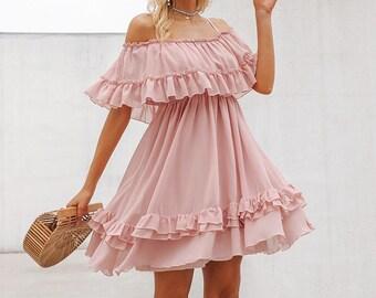 d41c095dc55 Short Pink Bridesmaid Dress Off Shoulder Sleeves Ruffles Pink Chiffon  Bridal Shower Dress Reception Dresses Lace Pink Boho Dress Summer